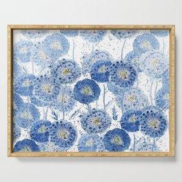 blue indigo dandelion pattern watercolor Serving Tray