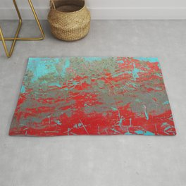 texture - aqua and red paint Rug