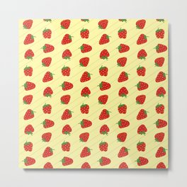 Strawberry Rows - repeating fruit pattern on yellow - chunky design Metal Print