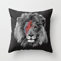 david bowie Throw Pillows featuring David Bowie Lion by Urban Exclaim Co.
