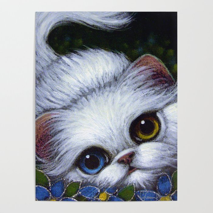 Spring White Persian Kitten Cat With Odd Eyes Poster By Cyracancel