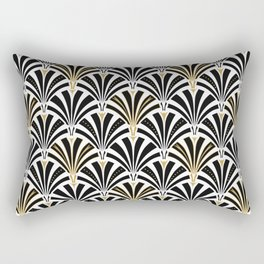 Art Deco Fan Pattern, Black and White Rectangular Pillow
