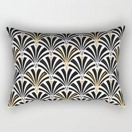 Art Deco Fan Pattern, Black and White Rectangular Pillow