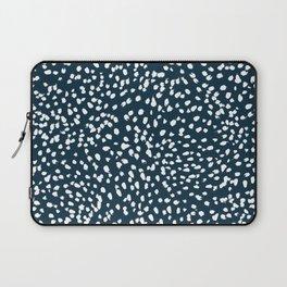 Navy Dots abstract minimal print design pattern brushstrokes painterly painting love boho urban chic Laptop Sleeve