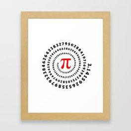 Pi, π, spiral science mathematics math irrational number Framed Art Print