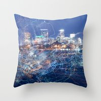 minneapolis Throw Pillows featuring Minneapolis Neon by Andrew C. Kurcan