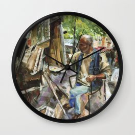 M. Mohwa adds the finishing touches as tourists pass by - Montmarte, Paris Wall Clock