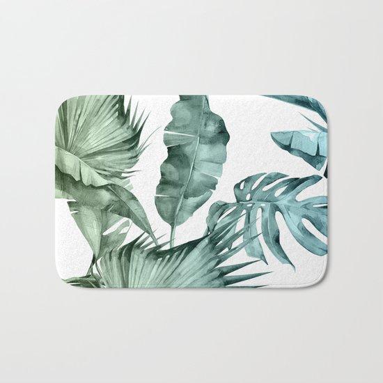 Tropical Palm Leaves Turquoise Green Blue Gradient Bath Mat