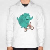 buffalo Hoodies featuring Bicycle Buffalo by Chase Kunz