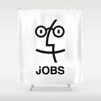 steve jobs Shower Curtains featuring JOBS by Mr. Pandastic