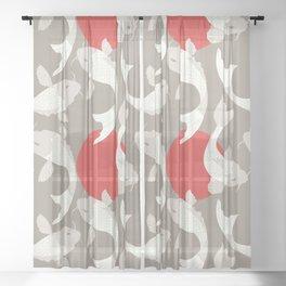 Koi fish pattern 002 Sheer Curtain