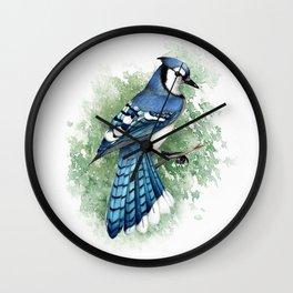 Blue Jay In Watercolor Wall Clock