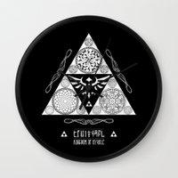 hyrule Wall Clocks featuring Legend of Zelda Kingdom of Hyrule Crest Letterpress Vector Art by Barrett Biggers