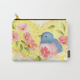Flowers and Bird in Heart Carry-All Pouch