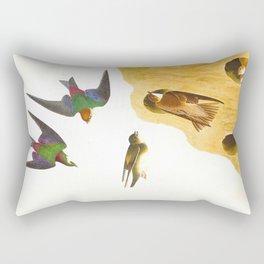 Bank Swallow and Violet-green Swallow Bird Rectangular Pillow