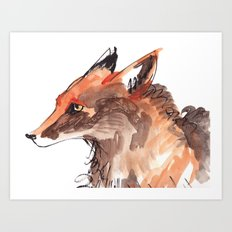 Angry Fox Art Print