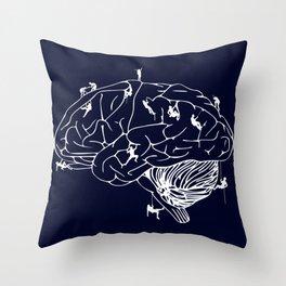 Climbing On The Brain Throw Pillow