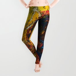 Wild the Storm Bison Painting by OLena Art Leggings