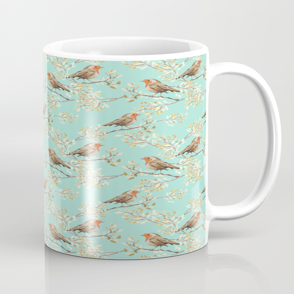 Vintage Redbreast Robin Pattern Mug by Tanyalegere (MUG7776169) photo