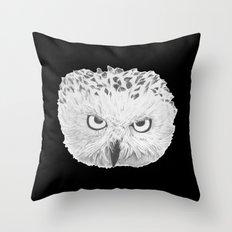 Snowy Owl Black Throw Pillow