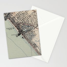 Vintage Map of Venice Beach California (1923) Stationery Cards