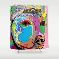 rottweiler Shower Curtains featuring Lady Rottweiler by EloiseArt