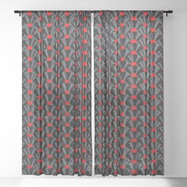 Covered in Vinyl / Vinyl records arranged in scale pattern Sheer Curtain