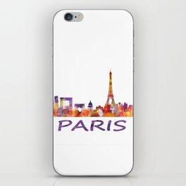 París City Skyline HQ Watercolor iPhone Skin