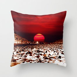 Landscape and Mars Throw Pillow