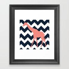 Giraffe on Chevron Background Framed Art Print