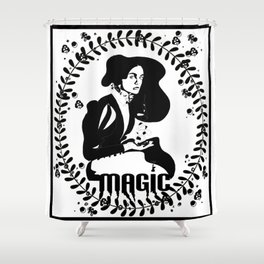 Magic Girl Black and White Shower Curtain