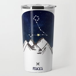 Astrology Pisces Zodiac Horoscope Constellation Star Sign Watercolor Poster Wall Art Travel Mug