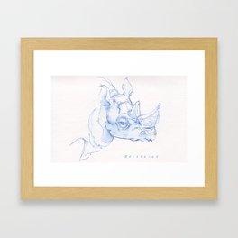 Rhino in Ink Wash Framed Art Print
