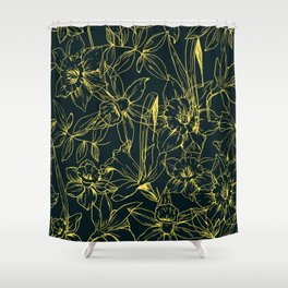 Hand drawn daffodils flowers seamless pattern, Template of greeting tropical leaves and flowers Shower Curtain