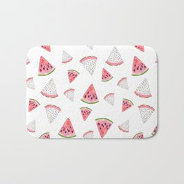 Fruity hand painted watercolor pink red black watermelon Bath Mat
