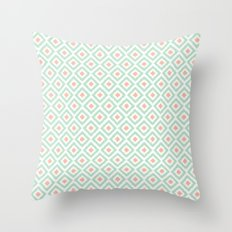 Mint and Coral Diamonds Ikat Pattern Throw Pillow