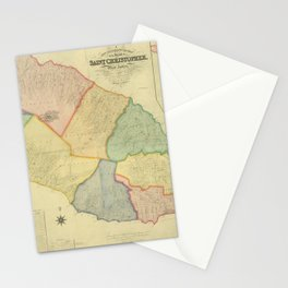 Vintage Map of Saint Kitts (1828) Stationery Cards