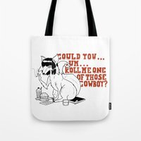 pulp fiction Tote Bags featuring Fox by LullaBy D