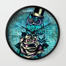 Tattoo style owl with top hat and rose. Rockabilly style.  Wall Clock