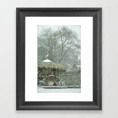 Snowy Carousel Paris Framed Art Print