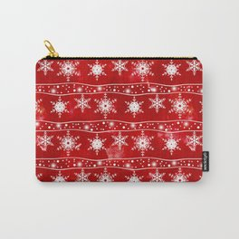 Openwork white snowflakes on red Carry-All Pouch
