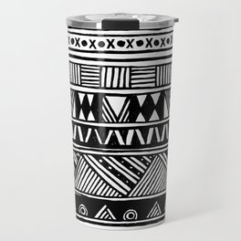 Black White Cute Girly Urban Tribal Aztec Andes Abstract Geometric Hand-drawn Pattern Travel Mug