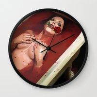 evil Wall Clocks featuring Evil by Thanya Castrillón