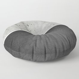 Raw Concrete and Black Leather Floor Pillow