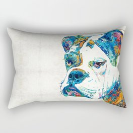 Colorful English Bulldog Art By Sharon Cummings Rectangular Pillow