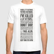 American Psycho - Patrick Bateman's Confession White SMALL Mens Fitted Tee