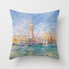 The Palace of the Doge's & St. Mark's Square Venice Italy landscape painting by Pierre Renoir Throw Pillow