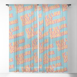 """""""It be like that sometimes"""" Retro Blue Sheer Curtain"""