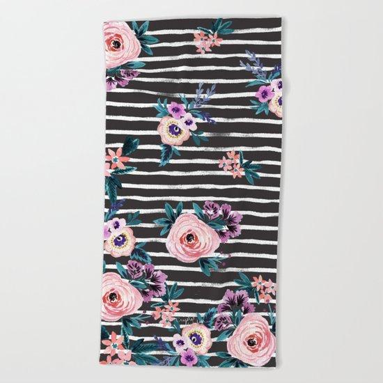 Victoria Floral Stripe Black Beach Towel