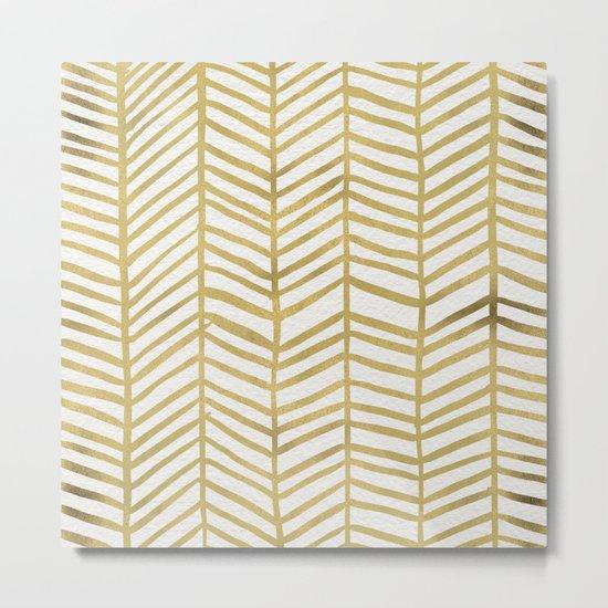 Gold Herringbone Metal Print